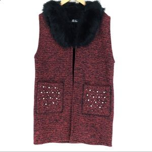 Mid-length Long Fuzzy Lined Beaded Knit Vest